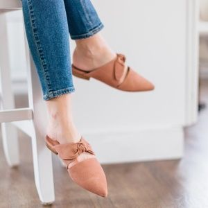 Jeffrey Campbell Charlin Bow Mule Slides Suede